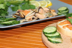 An old dish with mussels, slicing cucumbers Royalty Free Stock Photo