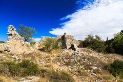 Old disintegrate stone cottage. In the hills around Gruissan in South France Royalty Free Stock Photo