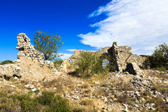 Old disintegrate stone cottage. In the hills around Gruissan in South France Stock Images