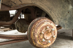 Old disk brake repair in the garage, mini-truck Royalty Free Stock Photos