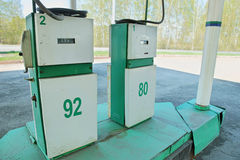 Old dispensers at a gas station Stock Photography