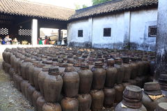 Old distillery at a courtyard in China. Old distillery for Chinese sake (rice liquor) in the village of Wuzhen in China stock images