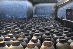 Old distillery at a courtyard in China. Old distillery for Chinese sake rice liquor in the village of Wuzhen in China stock photography