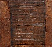 Old distressed antique wood box with metal elements grunge background Stock Photos