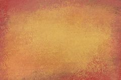 Old distressed background design with faded grunge texture in colors of brown and orange gold. With grunge stained dirty borders vector illustration