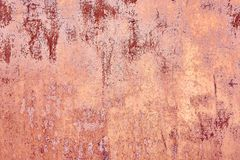 Old Distressed Brown Terracotta Copper Rusty Background with Rough Texture Multicolored Inclusions. Stained Gradient. Coarse Grainy Surface. Wallpaper Template royalty free stock photos