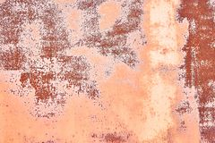 Old Distressed Brown Terracotta Copper Rusty Background with Rough Texture Multicolored Inclusions. Stained Gradient. Coarse Grainy Surface. Wallpaper Template stock images