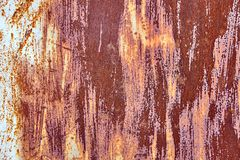 Old Distressed Brown Terracotta Copper Rusty Background with Rough Texture Multicolored Inclusions. Stained Gradient. Coarse Grainy Surface. Wallpaper Template stock photo