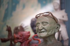 Old distressed statue. Of a man royalty free stock photo