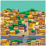 The old district. Seamless horizontal stylized composition of the old district of the big city vector illustration