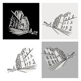 Old district sketch with city road for your design Royalty Free Stock Images