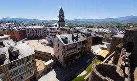 Old districts  of Ponferrada from castle Stock Photography
