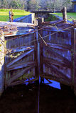 Old disused lock gates Tennant canal Royalty Free Stock Photos