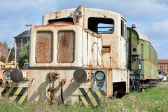 Old disused locomotive on the siding Stock Photos