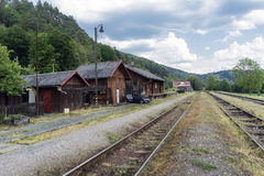 Old disused railway station in the village of Kacov, Czech Repub Stock Images