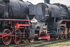 Old disused coal steam black locomotives Stock Image