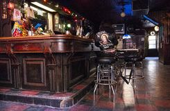 Old Dive Bar. Interior dive bar NYC with pool table royalty free stock photos