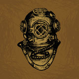 Old Diver. Equipment. Conceptual Vector Illustration Stock Images