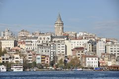 Old and diverse city landscape in Istanbul Turkey. By the Mediterranean Sea shores Stock Images