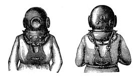 Old  diving suit , black and white engraving Stock Photo