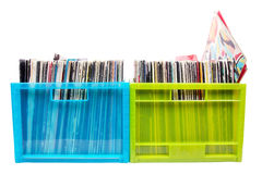 Old dj records collection in plastic boxes Royalty Free Stock Image