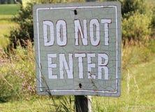 Old Do Not Enter Teken royalty-vrije stock foto