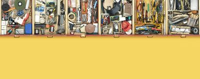 Old do it yourself work tools in drawers. Top view, DIY and repair concept, blank copy space royalty free stock photography