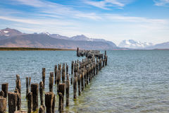Old Dock in Almirante Montt Gulf in Patagonia - Puerto Natales, Magallanes Region, Chile Stock Image