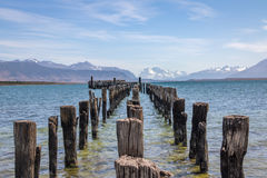 Old Dock in Almirante Montt Gulf in Patagonia - Puerto Natales, Magallanes Region, Chile Royalty Free Stock Photo