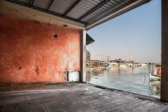 Old dock background. With view on sea and boats royalty free stock photo