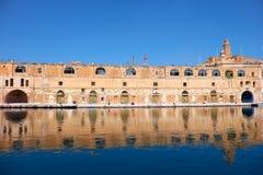 The old dock building at Bormla (Cospicua) waterfront. Malta. Stock Image