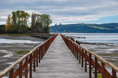 Old dock linking to an  island, Chiloé Is Royalty Free Stock Photos
