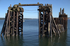 Old Dock Structure. In a port town stock photography