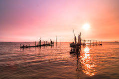 Old dock sunrise Royalty Free Stock Photo