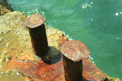 The old docking port. Docking port of on the quay in Foros, Crimea. close-up Royalty Free Stock Photography