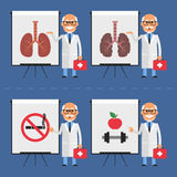 Old doctor indicates on flip chart. Vector illustration, Old doctor indicates on flip chart, EPS 8 format vector illustration