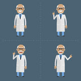 Old doctor indicates in various poses Royalty Free Stock Photography