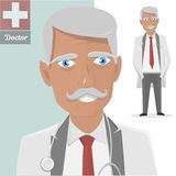 Old doctor with stethoscope. The character isolated of the physician with a mustache. Vector illustration Royalty Free Stock Photography