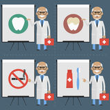 Old doctor stomatologist indicates on flipchart infographics Stock Image