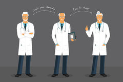 Old doctor in various poses Royalty Free Stock Image