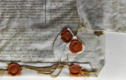 Old document or letter with official letter seal Stock Images