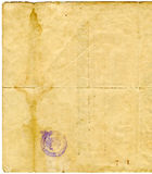 Old document  Paper Texture. Scan of old Russian document. with realistic antique paper texture and natural torn edges. and old stamp Stock Photography
