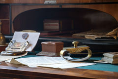 Old documents with official equipment. On the desk in the office royalty free stock photography