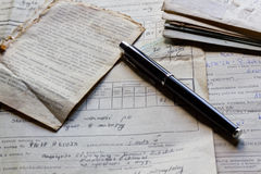Old documents and pen. Photo shows an old letters, documents and pen stock photography