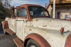 Old Dodge towing truck. Broadway, Virginia, USA- April 13, 2018: Old Dodge towing truck stock photo