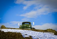 Old Dodge truck on hill outside of Emmett, Idaho. On a snowy day stock photography