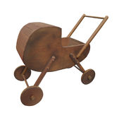 Old doll baby buggy isolated. Royalty Free Stock Image