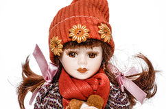 Old doll isolated on white Royalty Free Stock Photos