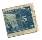 Old 5 dollar bill canadian Stock Photo