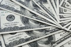 100 old dollar bills. Fan stack close up stock photography